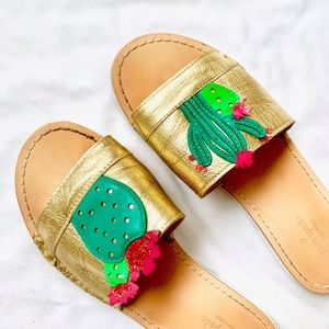 KATE SPADE GOLD CACTUS JEWELED SLIDE LEATHER FLATS